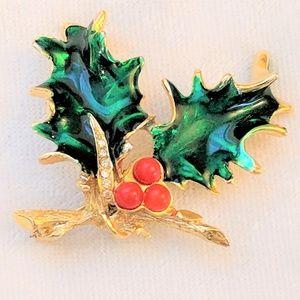 Jewelry - Vintage Christmas Holly Brooch Mistletoe Pin